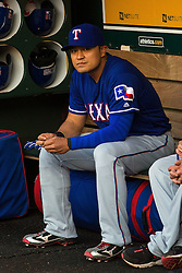 OAKLAND, CA - JUNE 14:  Shin-Soo Choo #17 of the Texas Rangers sits in the dugout before the game against the Oakland Athletics at the Oakland Coliseum on June 14, 2016 in Oakland, California. The Texas Rangers defeated the Oakland Athletics 10-6. (Photo by Jason O. Watson/Getty Images) *** Local Caption *** Shin-Soo Choo