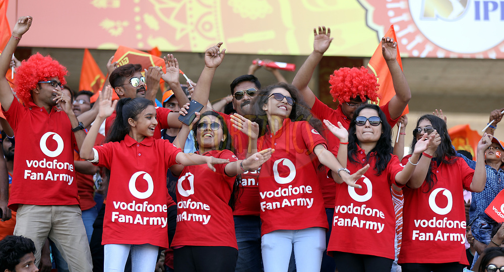 Vodafone Fan Army during match 26 of the Vivo 2017 Indian Premier League between the Gujarat Lions and the Kings XI Punjab held at the Saurashtra Cricket Association Stadium in Rajkot, India on the 23rd April 2017<br /> <br /> Photo by Sandeep Shetty - Sportzpics - IPL