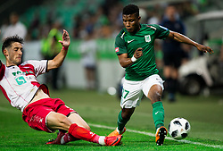 Ilija Martinovic of NK Aluminij vs Abass Issah of NK Olimpija during football match between NK Aluminij and NK Olimpija Ljubljana in the Final of Slovenian Football Cup 2017/18, on May 30, 2018 in SRC Stozice, Ljubljana, Slovenia. Photo by Vid Ponikvar / Sportida
