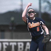 Delmar Wildcats Pitcher Alexis Layton (8) pitching in the first inning of a varsity scheduled game between Caravel Academy and The Delmar Wildcats Saturday, April 4, 2015, at Caravel Athletic Field in Bear Delaware.