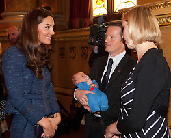 © Licensed to London News Pictures. 26/04/2012.  The Duchess of Cambridge meets team member Staff Sergeant Vic Vickery, a member of the Scott-Amundsen Centenary Expedition in the Guildhall today.  The team returned from their gruelling adventure on the 27 Jan 2012 which was the exact date that Shackleton made the trek 100 years ago.   Photo credit: Alison Baskerville/LNP