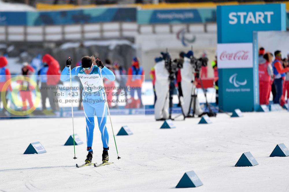 KOLYADIN Alexandr KAZ LW4 competing in the ParaSkiDeFond, Para Nordic Skiing, 20km at  the PyeongChang2018 Winter Paralympic Games, South Korea.