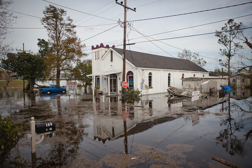 Ironton LA- August 31, Church in flood waters caused by the surge brought in by Hurricane Isaac. Isaac was a category one storm that caused massive damage to Plaquemines Parish Louisiana.