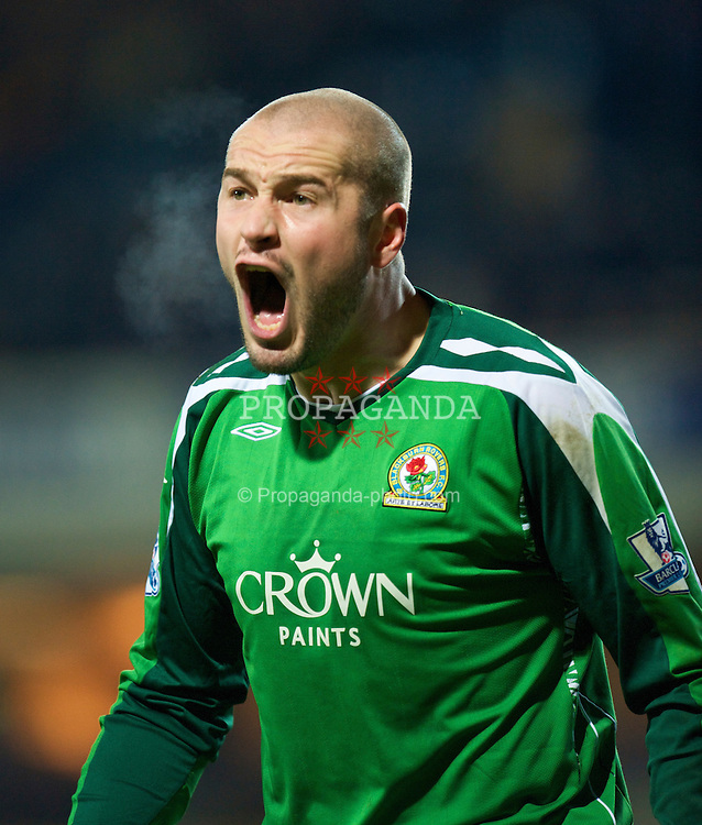 BLACKBURN, ENGLAND - Saturday, December 6, 2008: Full of hot air... Blackburn Rovers' goalkeeper Paul Robinson during the Premiership match against Liverpool at Ewood Park. (Photo by David Rawcliffe/Propaganda)
