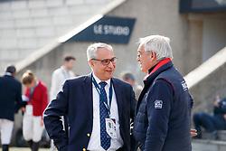 DE VOS Ingmar (Präsident FEI), GUERDAT Philipp (SUI)<br /> Paris - FEI World Cup Finals 2018<br /> Impressionen vor der Halle<br /> www.sportfotos-lafrentz.de/Stefan Lafrentz<br /> 11.04.18