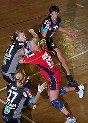 Nina Potocnik of Celje between Barbara Varlec and Gabriella Kindl of Krim at handball game ZRK Celje Celjske Mesnine vs RK Krim Mercator in final match of Slovenian Handball Cup,  on April 6, 2008 in Arena Golovec, Celje, Slovenia. Krim won the game 31:21 and became Cup Winner.  (Photo by Vid Ponikvar / Sportal Images)