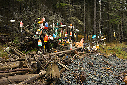 Lobster Buoys hung on trees on Isle Au Haut in Maine's Acadia National Park.