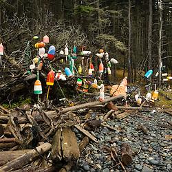 Lobster Buoys hung on trees on Isle Au Haut in Maine's Acadia National Park.