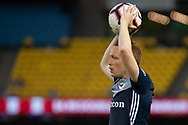 Melbourne Victory defender Corey Brown (3) throws in the ball at the Hyundai A-League Round 7 soccer match between Melbourne Victory v Adelaide United at Marvel Stadium in Melbourne, Australia.