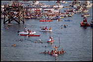 GLOUCESTER, MA- JUNE 28, 2003:  The red flag is captured during the Greasy Pole contest during the annual celebration paying homage to St. Peter, the patron saint of fishermen in Gloucester, MA. It takes place 200 feet off Pavilion Beach. A forty-five foot telephone pole is attached to a platform and extends out over the water. A red flag is nailed to a stick at the end of the pole which is then heavily greased. It is not uncommon for these daring individuals to come away with scrapes, bruises or even broken ribs. Once a contestant captures the flag he then swims to the beach with all the other contestants. He is then lifted onto to the shoulders of his fellow walkers and paraded around the town. The festa takes place on the weekend closest to the Feast Day of St. Peter, June 29. .(Photo by Robert Falcetti) . .