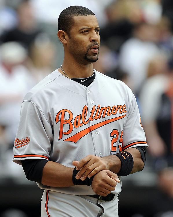 CHICAGO - MAY 01:  Derrek Lee #25 of the Baltimore Orioles looks on after striking out against the Chicago White Sox on May 01, 2011 at U.S. Cellular Field in Chicago, Illinois.  The Orioles defeated the White Sox 6-4.  (Photo by Ron Vesely)  Subject:   Derrek Lee