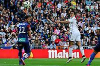 Real Madrid´s Chicharito and Eibar´s Raul Rodriguez Navas during 2014-15 La Liga match between Real Madrid and Eibar at Santiago Bernabeu stadium in Madrid, Spain. April 11, 2015. (ALTERPHOTOS/Luis Fernandez)