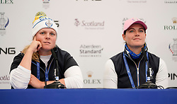 Auchterarder, Scotland, UK. 12 September 2019. Press conference with Team Europe players for the 2019 Solheim Cup. Pictured; Caroline Hedwall (l) and ~Caroline Masson.  Iain Masterton/Alamy Live News