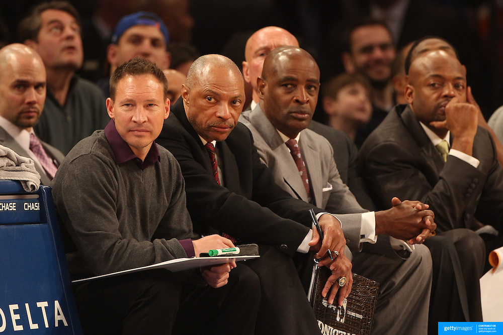 Jim Cleamons, (second, left), assistant coach with the Bucks during the New York Knicks vs Milwaukee Bucks, NBA Basketball game at Madison Square Garden, New York. USA. 15th March 2014. Photo Tim Clayton