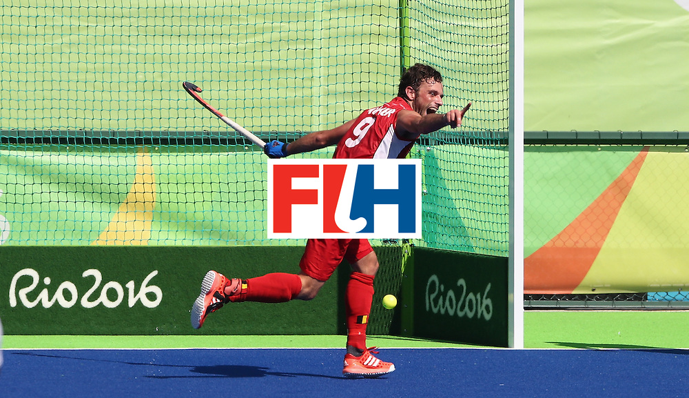 RIO DE JANEIRO, BRAZIL - AUGUST 14:  Sebastien Dockier of Belgium celebrates after scoring his second goal in their 3-1 victory during the Men's hockey quarter final match between Belgium and India on Day 9 of the Rio 2016 Olympic Games at the Olympic Hockey Centre on August 14, 2016 in Rio de Janeiro, Brazil.  (Photo by David Rogers/Getty Images)