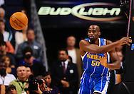 Mar. 14 2010; Phoenix, AZ, USA; New Orleans Hornets center Emeka Okafor (50) makes a pass in the first half at the US Airways Center. The Suns defeat the Hornets 120 to 106. Mandatory Credit: Jennifer Stewart-US PRESSWIRE.