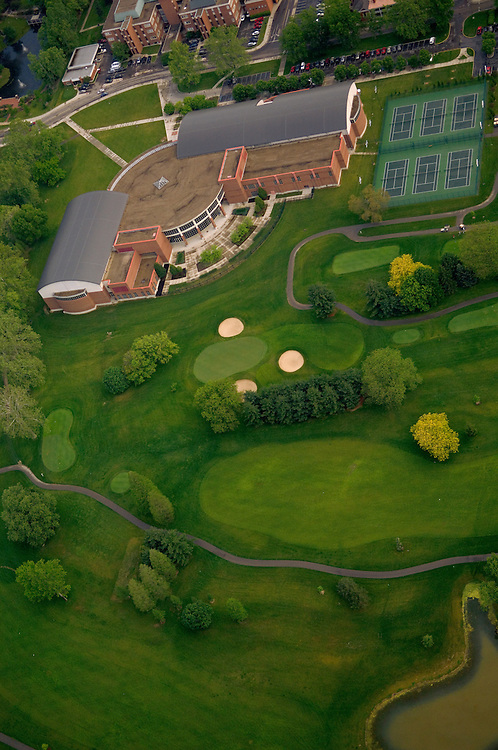 Aerial view of Charles J. Ping Center and the Ohio University Golf Course. © Ohio University