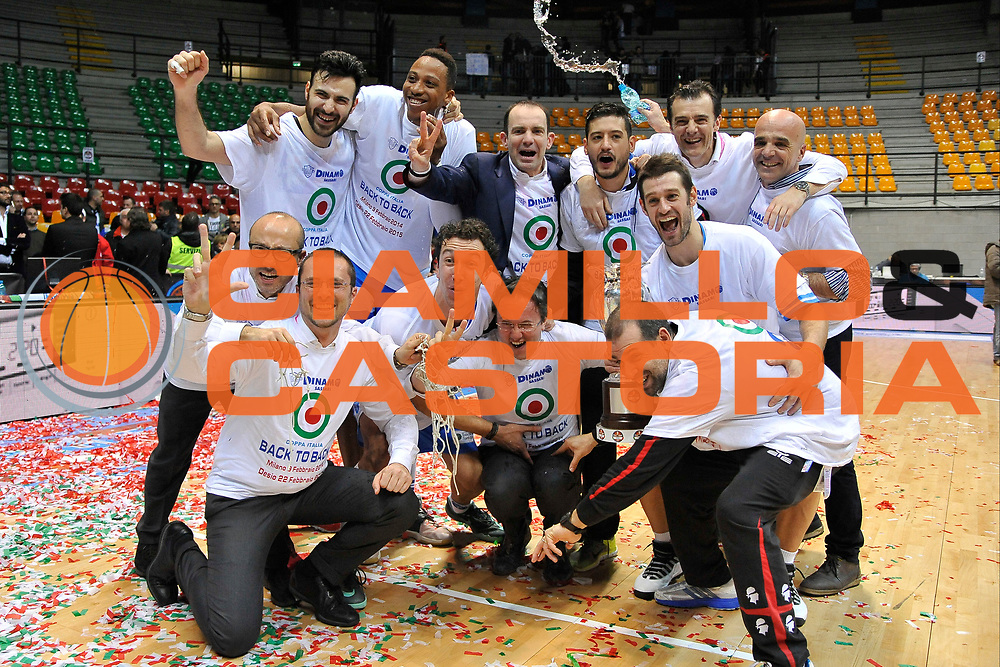 DESCRIZIONE : Final Eight Coppa Italia 2015 Finale Olimpia EA7 Emporio Armani Milano - Dinamo Banco di Sardegna Sassari <br /> GIOCATORE : Banco di Sardegna Sassari<br /> CATEGORIA : Ritratto Esultanza<br /> SQUADRA : Banco di Sardegna Sassari<br /> EVENTO : Final Eight Coppa Italia 2015 <br /> GARA : Olimpia EA7 Emporio Armani Milano - Dinamo Banco di Sardegna Sassari <br /> DATA : 22/02/2015 <br /> SPORT : Pallacanestro <br /> AUTORE : Agenzia Ciamillo-Castoria/C.Atzori