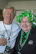 Pam Benoit, left, vice president and provost, at the homecoming football game against Miami University at Peden Stadium. © Ohio University / Photo by Emily Matthews