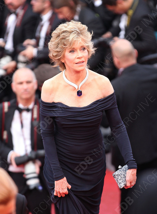 14.MAY.2011. CANNES<br /> <br /> JANE FONDA ON THE RED CARPET FOR THE PIRATES OF THE CARIBBEAN: ON THE STRANGER TIDES PREMIERE AT THE 64TH CANNES INTERNATIONAL FILM FESTIVAL 2011 IN CANNES, FRANCE<br /> <br /> BYLINE: EDBIMAGEARCHIVE.COM<br /> <br /> *THIS IMAGE IS STRICTLY FOR UK NEWSPAPERS AND MAGAZINES ONLY*<br /> *FOR WORLD WIDE SALES AND WEB USE PLEASE CONTACT EDBIMAGEARCHIVE - 0208 954 5968*