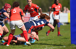 Kayleigh Armstrong of Bristol Ladies closes in on the line to score - Mandatory by-line: Paul Knight/JMP - 09/04/2017 - RUGBY - Cleve RFC - Bristol, England - Bristol Ladies v Saracens Women - RFU Women's Premiership Play-off Semi-Final