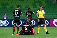 MELBOURNE, AUSTRALIA - SEPTEMBER 18: Daniel Georgievski (5) of the Wanderers is attended to during the FFA Cup Quarter Finals match between Melbourne City FC and Western Sydney Wanderers FC at AAMI Park on September 18, 2019 in Melbourne, Australia. (Photo by Speed Media/Icon Sportswire)