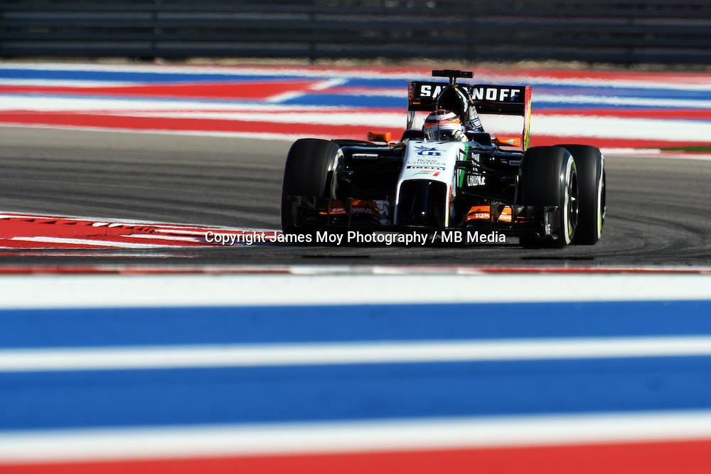 Nico Hulkenberg (GER) Sahara Force India F1 VJM07.<br /> United States Grand Prix, Friday 31st October 2014. Circuit of the Americas, Austin, Texas, USA.