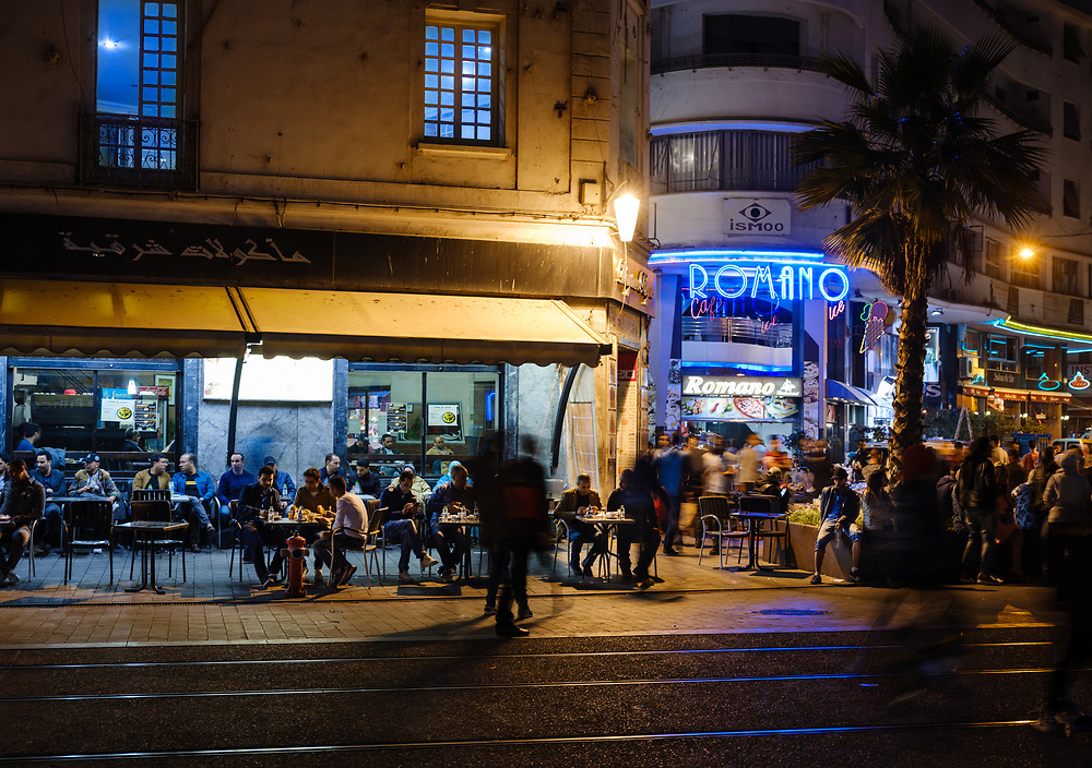 CASABLANCA, MOROCCO - CIRCA APRIL 2017: People in Boulevard Mohammed V  in Casablanca at night.