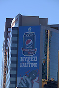 January 22, 2015; Phoenix, AZ, USA; General view of the downtown Phoenix skyline with signage promoting the Pepsi Super Bowl XLIX halftime show in advance of the game between the Seattle Seahawks and the New England Patriots.