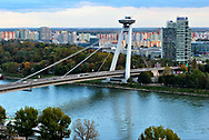 The UFO is a restaurant in central Bratislava, Slovakia. It is located on top of the Most SNP bridge over the Danube River. The elevator ride up is a bit scary.