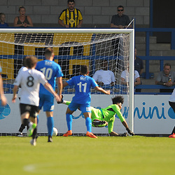 TELFORD COPYRIGHT MIKE SHERIDAN GOAL. Corey Addai of Telford (on loan from Coventry City) can't get a hand on Ravi Shamsi's low shot as he makes it 2-1 during the National League North fixture between AFC Telford United and Leamington AFC at the New Bucks Head on Monday, August 26, 2019<br /> <br /> Picture credit: Mike Sheridan<br /> <br /> MS201920-005