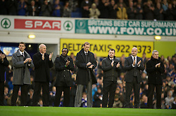 04122011, Goodison Park, Liverpool, ENG, Premier League, FC Everton vs Stoke City, 14 Spieltag, im Bild Former Everton team-mates of the Wales manager Gary Speed, who died earlier this week, pay tribute before the football match of english Premier League, 14th round between FC Everton and Stoke City at Goodison Park, Liverpool, ENG on 2011/12/04. EXPA Pictures © 2011, PhotoCredit: EXPA/ Sportida/ David Rawcliff..***** ATTENTION - OUT OF ENG, GBR, UK *****
