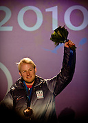 Friday, Feb 19, 2010 :  USA's Andrew Weibrecht of Lake Placid, N.Y. receives the Bronze medal for the Olympic Super G event in Whistler, BC, Canada during the 2010 Winter Olympic Games.  (Photo/Todd Bissonette).
