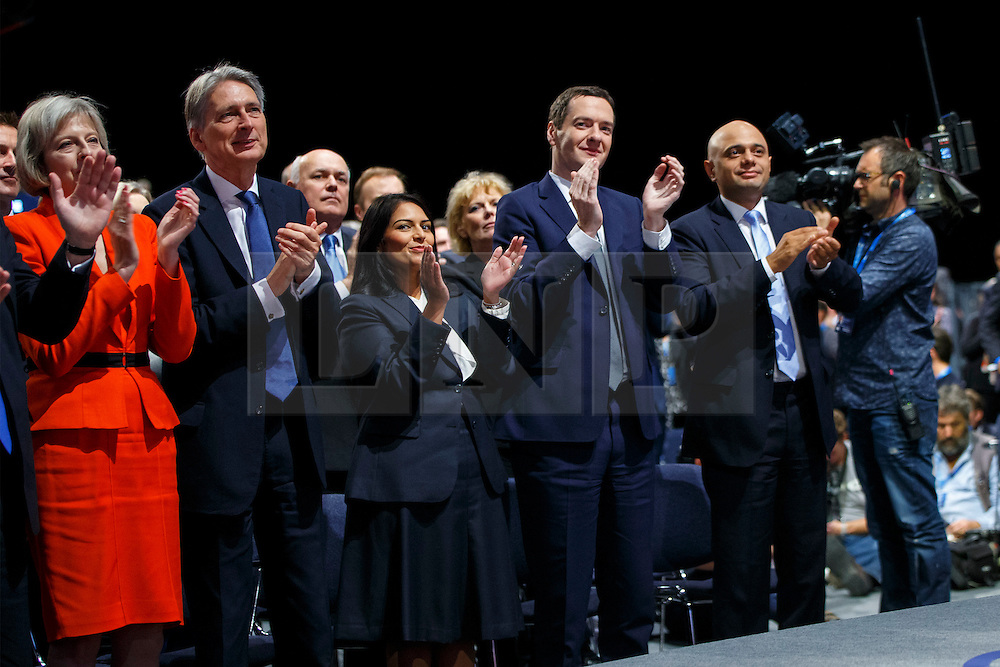 © Licensed to London News Pictures. 07/10/2015. Manchester, UK. Cabinet members listening Prime Minister David Cameron speaking at Conservative Party Conference at Manchester Central convention centre on Wednesday, 7 October 2015. Photo credit: Tolga Akmen/LNP