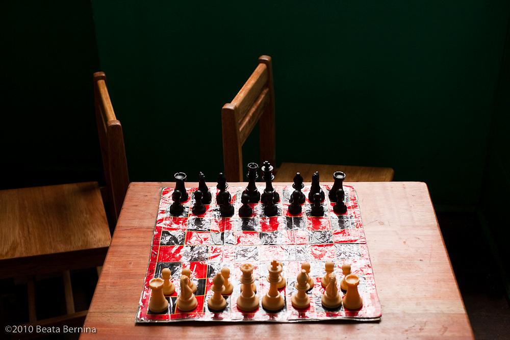 Chess set in a classroom, Calca, Peru.