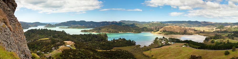 12x48-inch panoramic print of Whangaroa Harbour, New Zealand
