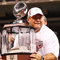 December 18, 2010; New Orleans, LA, USA; Troy Trojans head coach Larry Blakeney on the podium following a win over the Ohio Bobcats in the 2010 New Orleans Bowl at the Louisiana Superdome. Troy defeated Ohio 48-21. Mandatory Credit: Derick E. Hingle