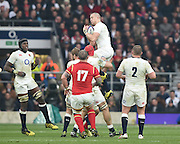 Twickenham. Great Britain.<br /> Mike BROWN collecting the hifg ball, during the<br /> RBS Six Nations Rugby, England vs Wales at the RFU Twickenham Stadium. England.<br /> <br /> Saturday  12/03/2016 <br /> <br /> [Mandatory Credit; Peter Spurrier/Intersport-images]