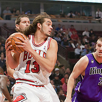 21 December 2009: Chicago Bulls center Joakim Noah grabs a rebound during the Sacramento Kings 102-98 victory over the Chicago Bulls at the United Center, in Chicago, Illinois, USA.