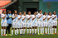 20 October 2014: Guatemala's starters. From left: Coralia Monterroso (GUA), Alicia Navas (GUA), Daniela Andrade (GUA), Marilyn Rivera (GUA), Mia Espino (GUA), Londy Barrios (GUA), Gloria Aguilar (GUA), Maria Monterroso (GUA), Ana Martinez (GUA), Kimberly De Leon (GUA), and Aisha Solorzano (GUA). The Trinidad & Tobago Women's National Team played the Guatemala Women's National Team at RFK Memorial Stadium in Washington, DC in a 2014 CONCACAF Women's Championship Group A game, which serves as a qualifying tournament for the 2015 FIFA Women's World Cup in Canada. Trinidad and Tobago won the game 2-1 to secure advancement to the semifinals.
