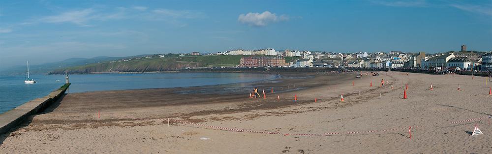 Peel Beach set up for motor bike races, Isle of Man