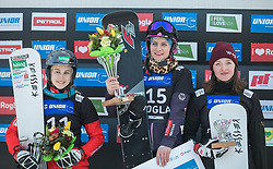 1st. Hofmeister Ramona Theresia, 2nd. Schoeffmann Sabine, 3th. Alena Zavarzina during trophy ceremony after the woman's Snowboard giant slalom of the FIS Snowboard World Cup 2017/18 in Rogla, Slovenia, on January 21, 2018. Photo by Urban Meglic / Sportida