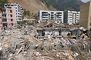 Beichuan town centre showing the remaning residentail units, now deserted by locals. Those building that withstood the earthquake were built more recently than those completely destroyed by the quake.