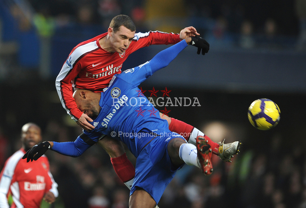 LONDON, ENGLAND - Sunday, February 7, 2010: Chelsea's Nicolas Anelka and Arsenal's Thomas Vermaelen during the Premiership match at Stamford Bridge. (Photo by Chris Brunskill/Propaganda)