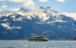 THEMENBILD - das Ausflugsschiff MS Schmittenhoehe vor der Bergkulisse der Hohen Tauern, aufgenommen am 30. April 2016, am Zeller See, Zell am See, Oesterreich // the passenger ship MS Schmittenhoehe ahead of the mountains of the Hohe Tauern, Zell am See, Austria on 2016/04/30. EXPA Pictures © 2016, PhotoCredit: EXPA/ JFK