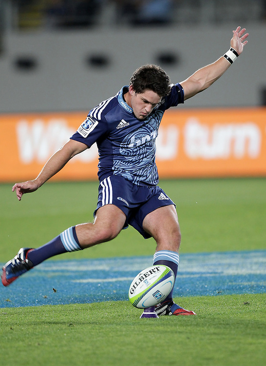 Blues' Simon Hickey takes a penalty kick against the Cheetahs in a Super Rugby match, Eden Park, Auckland, New Zealand, Saturday, March 22, 2014.  Credit: SNPA / David Rowland