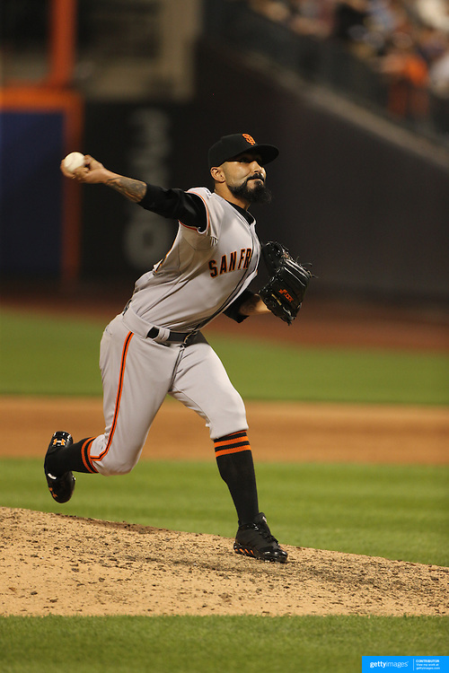 Pitcher Sergio Romo, San Francisco Giants, pitching during the New York Mets Vs San Francisco Giants MLB regular season baseball game at Citi Field, Queens, New York. USA. 11th June 2015. Photo Tim Clayton