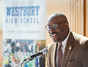 Larry Green comments during a groundbreaking ceremony at Westbury High School, February 16, 2017.