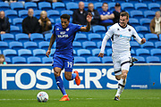 Nathaniel Mendez-Laing of Cardiff City and Ryan Tunnicliffe of Millwall during the EFL Sky Bet Championship match between Cardiff City and Millwall at the Cardiff City Stadium, Cardiff, Wales on 28 October 2017. Photo by Andrew Lewis.