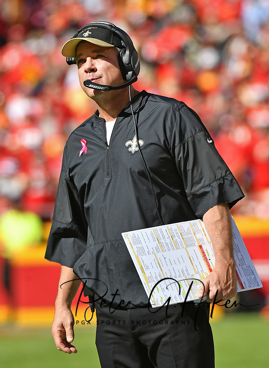 KANSAS CITY, MO - OCTOBER 23:  Head coach Sean Payton of the New Orleans Saints looks on against the Kansas City Chiefs during the first half on October 23, 2016 at Arrowhead Stadium in Kansas City, Missouri.  (Photo by Peter G. Aiken/Getty Images) *** Local Caption *** Sean Payton